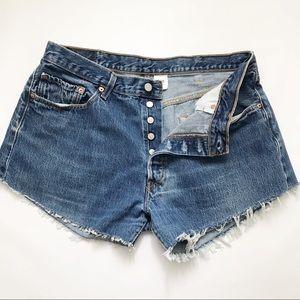 Levi's   501 Button fly cut off high waist shorts